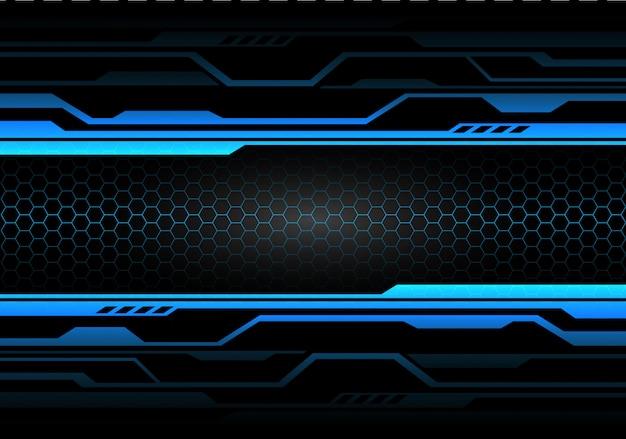 Circuit de lumière bleue sur noir avec technologie à maille hexagonale.