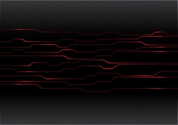 Circuit de lumière rouge cyber sur maille hexagonale noire.