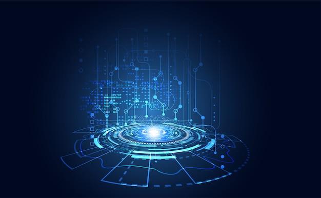 Circuits numériques de cercle de communication de technologies modernes sur fond bleu