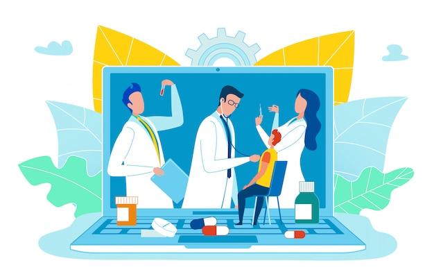 Circulaire consultation médicale en ligne cartoon flat.