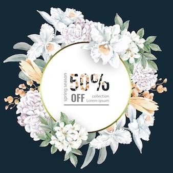 Circulaire de vente fleurie pour les achats de printemps