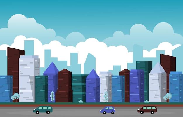 Circulation ville gratte-ciel urbain bâtiment vue paysage urbain illustration design plat