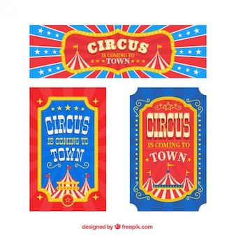 Cirque bannière et dépliants dans le style vintage