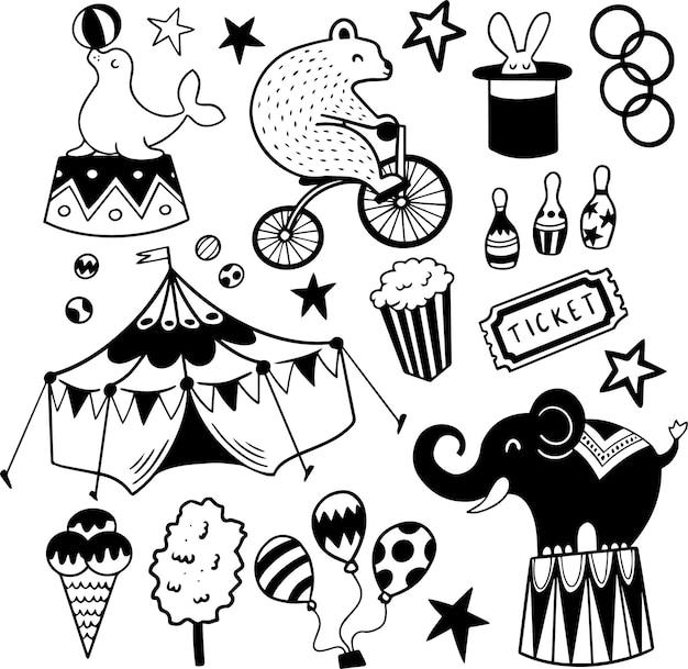 Cirque doodles dessinés à la main