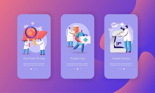 Cirrhose, modèle d'écran de page d'application mobile pour l'hépatite et la pancréatite.