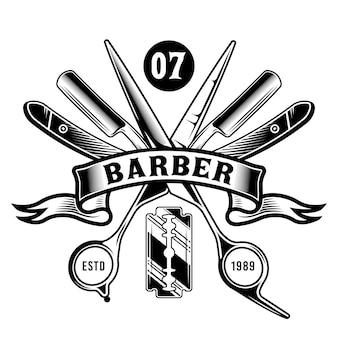 Ciseaux de barbier vintage et lames de rasoir