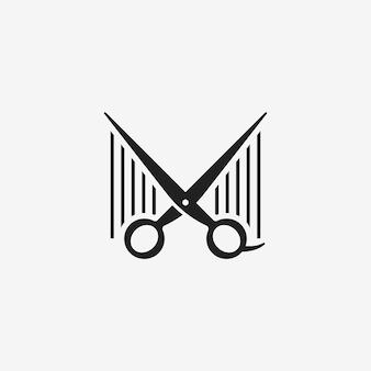 Ciseaux à ciseaux avec le salon de coiffure logo