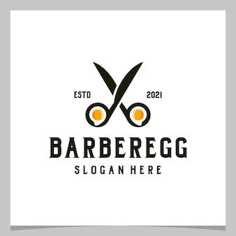 Ciseaux de coiffeur vintage de conception de logo d'inspiration avec le logo d'oeuf. vecteur de prime