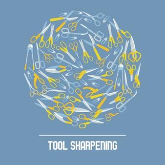 Ciseaux, composition pour affûter les outils salon de coiffure