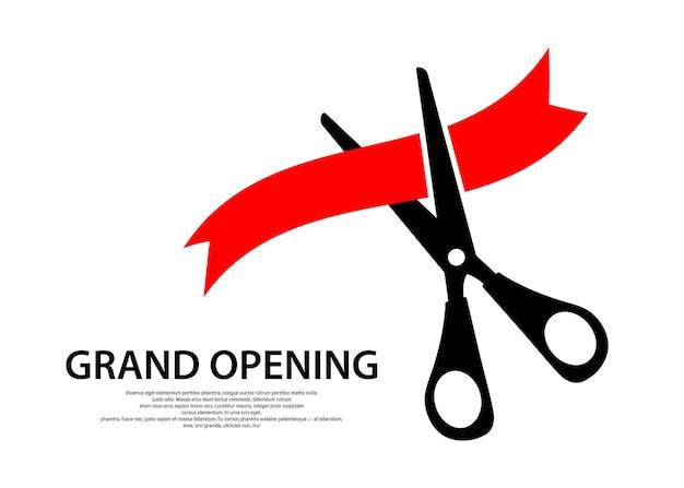 Des ciseaux coupent le ruban. icône d'ouverture de subvention. illustration vectorielle