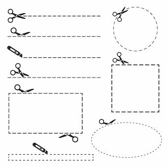 Ciseaux noirs avec jeu de lignes de coupe.