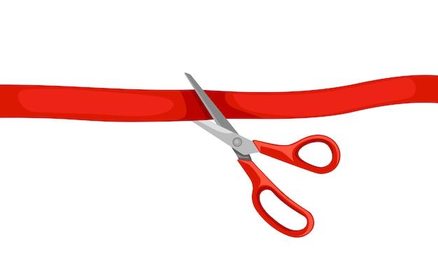 Des ciseaux rouges coupent la paperasse. cérémonie d'ouverture. illustration sur fond blanc