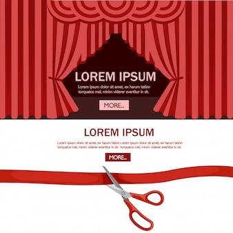 Des ciseaux rouges coupent la paperasse. scène de théâtre de cérémonie d'ouverture avec rideau rouge. illustration sur fond blanc