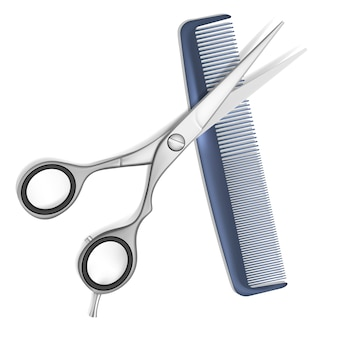 Ciseaux de vecteur et peigne pour cheveux isolés sur blanc