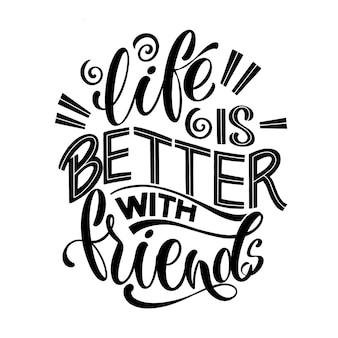 Citation sur les amis. expression de la journée de l'amitié heureuse. éléments de design vectoriel pour t-shirts, sacs, affiches, cartes, autocollants et badges.