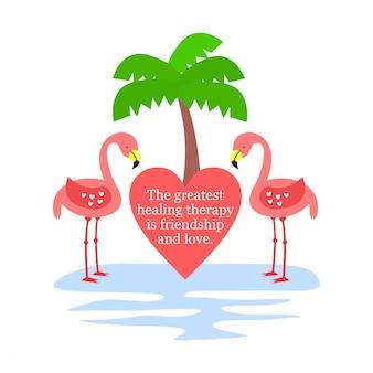 Citation d'amour avec illustration de flamant rose