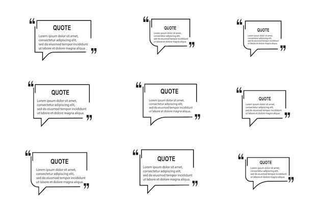 Citation cadres modèles vierges sur fond blanc. remarque. commentaire de bulle, bordures de message, boîtes, bannières. bulle de dialogue avec guillemets, pensez, parlez, parlez, virgules, zone de texte. vecteur