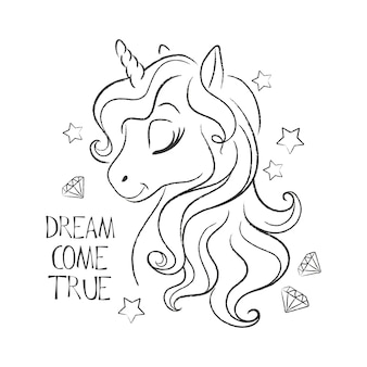 Citation et coloriage d'illustration licorne mignonne