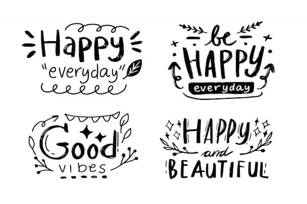 Citation de dessin de typographie lettre joyeux anniversaire