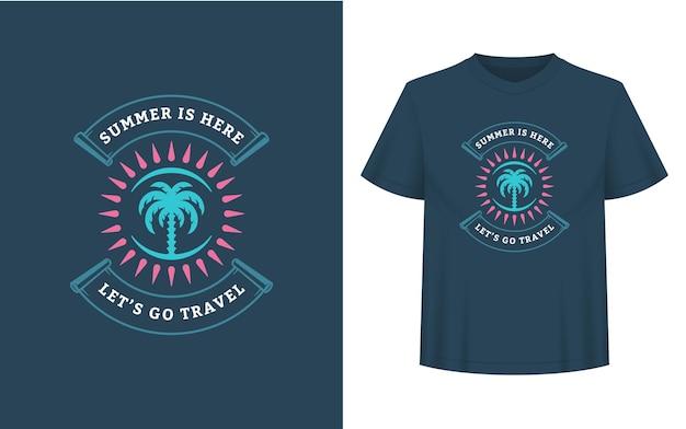 La citation ou le dicton d'été peut être utilisé pour un t-shirt, une tasse, une carte de voeux, des superpositions de photos, des impressions de décor et des affiches. l'été est là, allons-y, message de voyage, illustration vectorielle.