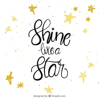 Citation et fond d'étoile avec lettrage