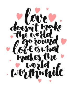 Citation inspirante de calligraphie au pinceau sur l'amour dire romantique pour les affiches cartes de saint valentin