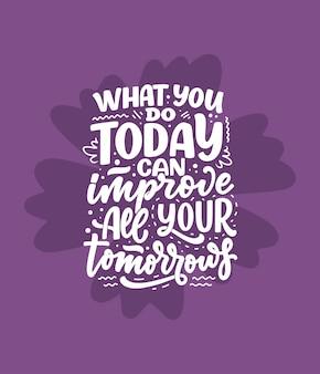 Citation de lettrage dessiné à la main dans un style de calligraphie moderne sur le slogan d'inspiration de motivation d'entreprise ...