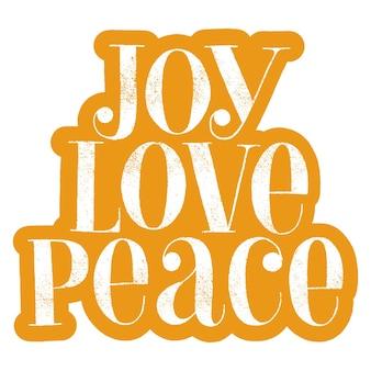 Citation de lettrage dessiné à la main joy love peace pour la période de noël. texte pour les médias sociaux, impression, t-shirt, carte, affiche, cadeau promotionnel, page de destination, éléments de conception web. illustration vectorielle
