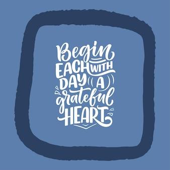 Citation de lettrage dessiné à la main sur la phrase cool de gratitude pour l'impression et la conception d'affiches inspirantes ...