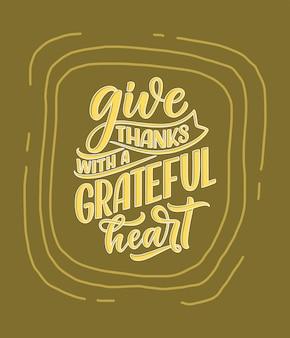 Citation de lettrage dessiné à la main sur la phrase cool de thanksgiving pour la conception d'impression et d'affiche inspirante ...