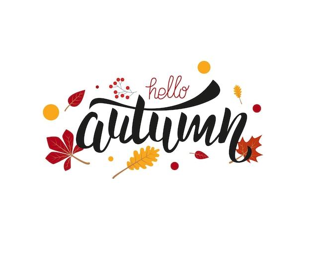 Citation de lettrage écrite à la main de vecteur bonjour automne conception de phrase de calligraphie moderne pour cartes de décoration