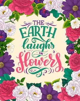 Citation de lettrage sur les fleurs
