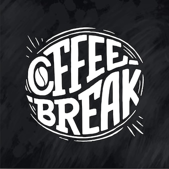 Citation de lettrage à la main avec croquis pour café ou café. expression de typographie vintage dessiné à la main