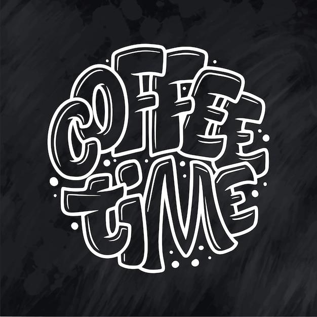 Citation de lettrage à la main avec croquis pour café ou café