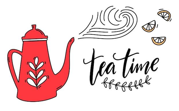 Citation manuscrite de l'heure du thé. théière rouge avec tourbillons. conception de bannière de vecteur mignon.