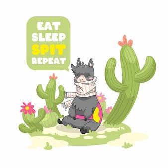 Citation mignonne de lama, manger répéter cracher le sommeil, illustration vectorielle de lama