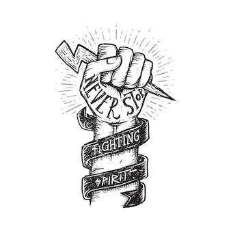 Citation de motivation esprit combatif illustration graphique art design de tshirt