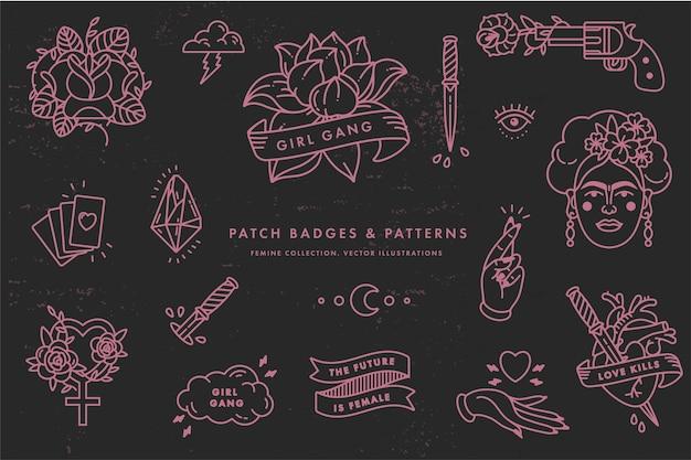Citation de puissance de fille. icon set symbole de mode avec portrait de frida kahlo, diamant, roses et symboles féminins. insignes de patch. autocollants, épingles. slogan du féminisme. femme à droite.