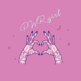 Citation de puissance de fille. symbole de mode icône avec main tatouée féminine. slogan du féminisme. femme à droite.