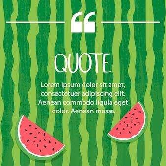 Citations sur un fond d'été de pastèque. bonjour lettrage d'été et pastèque.