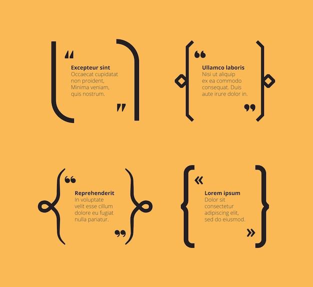 Citations sur le jaune. modèle abstrait de crochets avec des citations de typographie et place pour les cadres graphiques de texte