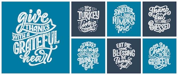 Citations de lettrage dessinés à la main pour le jour de thanksgiving. typographique.