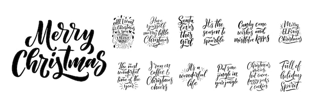Citations de noël. slogans de noël d'hiver. lettrage calligraphique dessiné à la main.