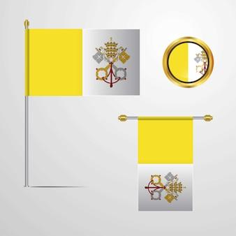 Cité du vatican, saint-siège, agitant un drapeau avec vecteur de badge