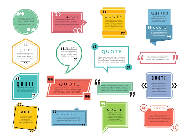 Cite des formes. boîtes de texte remarque phrases citations modèle de cadre de typographie vectorielle