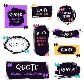 Citer la boîte texturée grunge. bulles texturées décoratives, étiquette de brosse de croquis de citations, jeu d'icônes de modèles de boîtes de dialogue brutes. citer des zones de texte de mémo et de motivation
