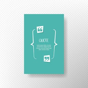 Citer la bulle de texte. virgules, note, message et commentaire. élément de conception. illustration vectorielle.