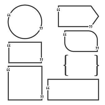 Citer des modèles vierges de bulles. carte de visite vide, feuille de papier, informations, texte. conception d'impression ensemble de vecteurs.