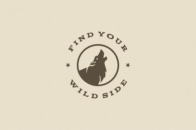 Citer la typographie avec le symbole du loup hurlant dessiné à la main pour carte de voeux ou affiche et autre.