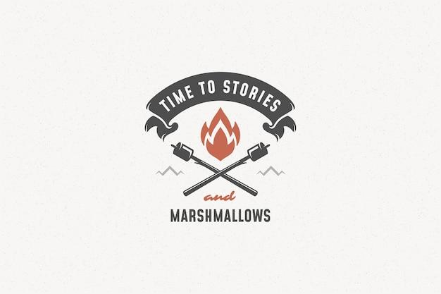 Citer la typographie avec symbole de feu de camp dessiné à la main